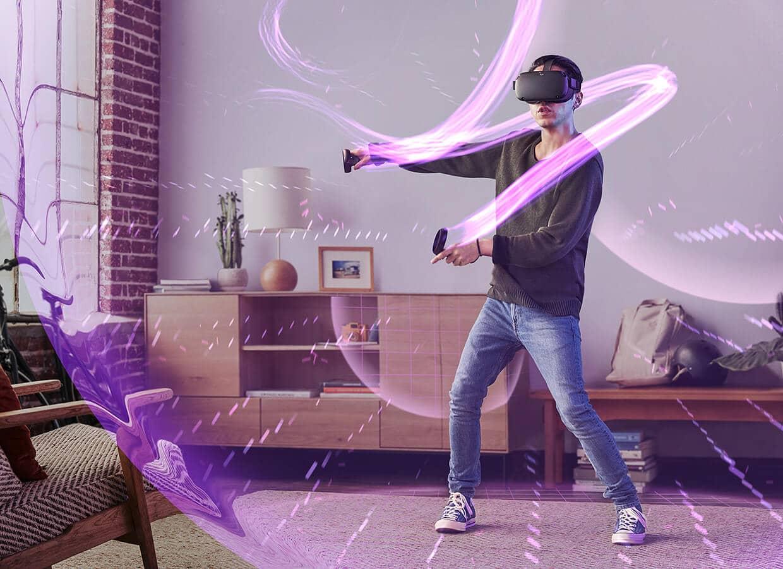 personne jouant à l'Oculus Quest lors d'une animation