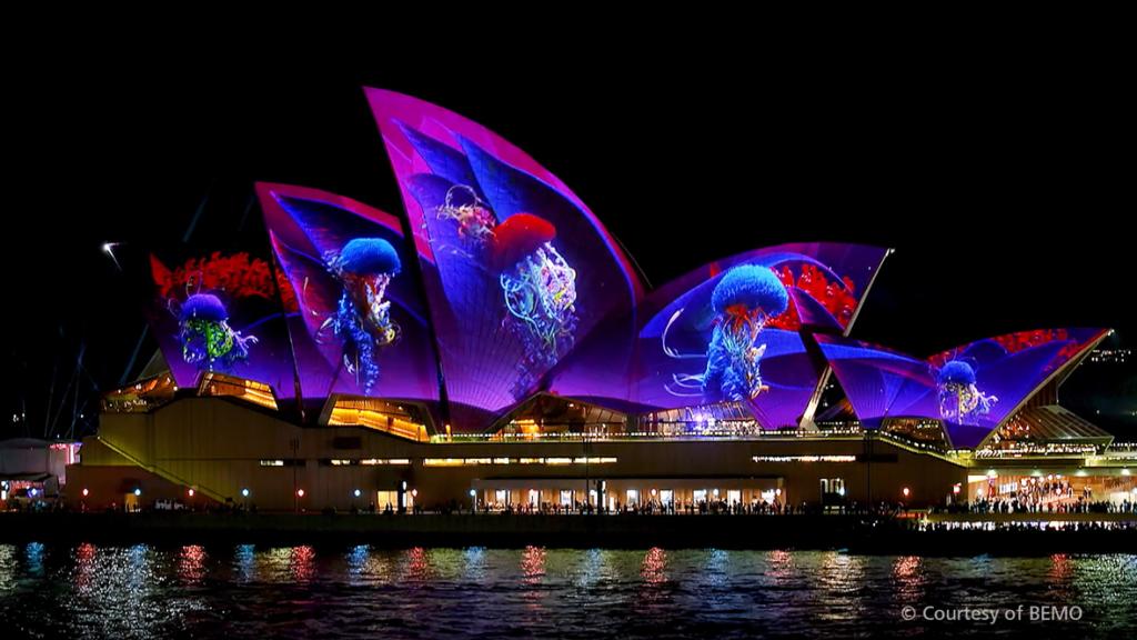 mapping vidéo sur l'opéra de sydney